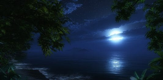 księżyc nocą na tle wody
